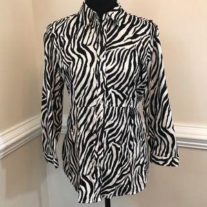 EUC NY & Co Tiger Stripe Stretch Shirt Size M